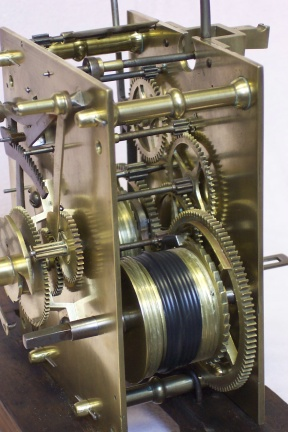 image, an 8 day grandfather clock movement restored in our workshop