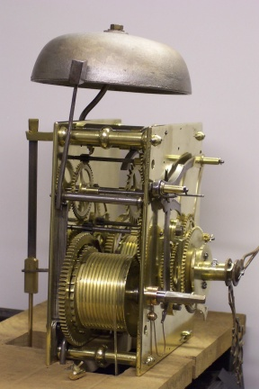 image,a restored 8 day grandfather clock movement,cleaned,repaired,oiled and polished